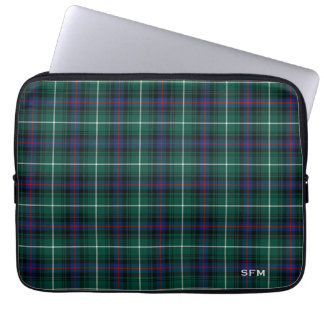 Clan MacDonald Tartan Blue & Green Plaid Monogram Laptop Sleeve