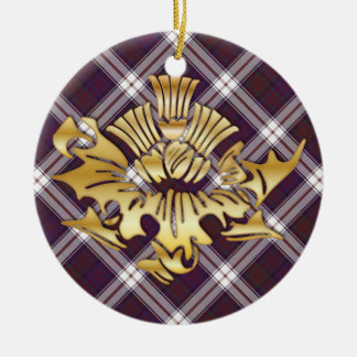 Clan MacDonald Tartan & Faux Gold Scottish Thistle Ceramic Ornament