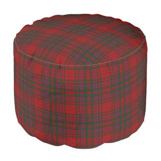 Clan MacDougal Scottish Style Red Green Tartan Pouf