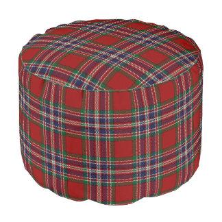 Clan MacFarlane Scottish Style Red Blue Tartan Pouf