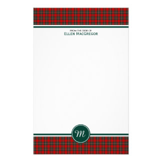 Clan MacGregor Tartan Red and Green Plaid Monogram Personalized Stationery