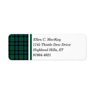 Clan MacKay Green and Blue Scottish Tartan Return Address Label