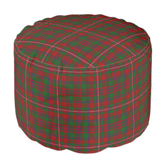 Clan MacKinnon Scottish Style Red Green Tartan Pouf