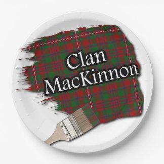 Clan MacKinnon Scottish Tartan Paint Brush 9 Inch Paper Plate