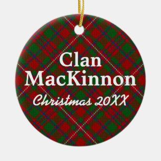 Clan MacKinnon Scottish Tartan Round Ceramic Decoration
