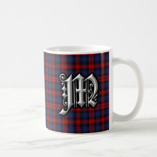 Clan MacLachlan Letter M Monogram Red Blue Tartan Coffee Mug