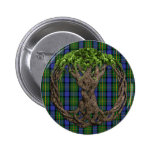 Clan MacLaren Tartan And Celtic Tree Of Life 6 Cm Round Badge