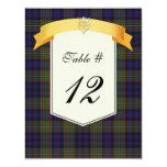 Clan MacLellan Tartan Plaid Wedding Table Number Personalised Invitation