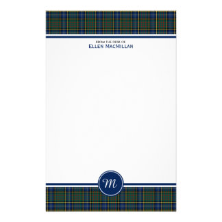 Clan MacMillan Blue and Green Plaid Monogram Stationery Paper