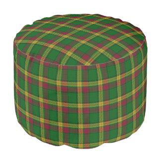 Clan MacMillan Scottish Style Red Green Tartan Pouf