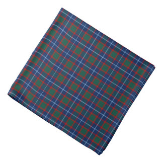 Clan MacNab Tartan Bright Blue and Red Plaid Bandana