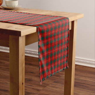 Clan MacPhee Bright Red and Green Scottish Tartan Short Table Runner