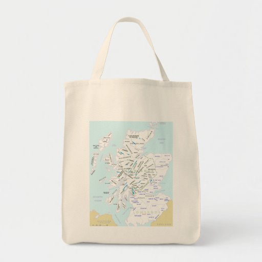 Clan Map of Scotland Grocery Tote Tote Bags