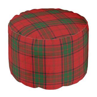 Clan Maxwell Scottish Style Red Green Tartan Pouf