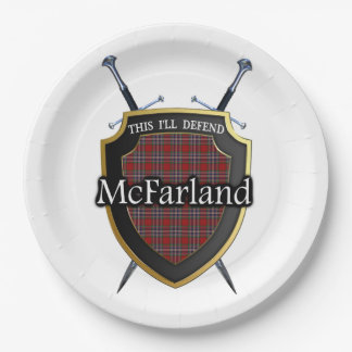 Clan McFarland Tartan Shield & Swords Paper Plate