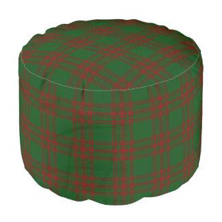 Clan Menzies Scottish Style Red Green Tartan Pouf