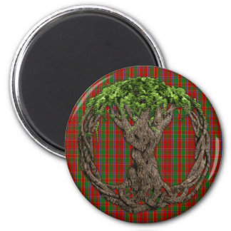 Clan Munro Tartan And Celtic Tree Of Life 6 Cm Round Magnet