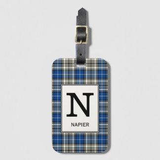 Clan Napier Tartan Monogrammed Luggage Tag
