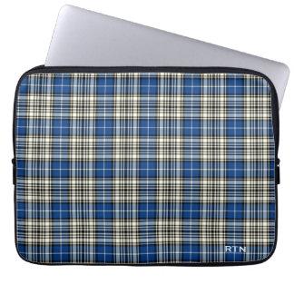 Clan Napier Tartan Royal Blue Plaid Monogram Laptop Sleeve