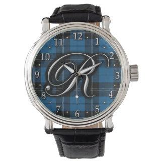 Clan Ramsay Ramsey Letter R Monogram Blue Tartan Watch