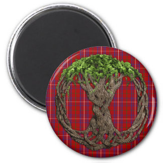 Clan Rose Tartan And Celtic Tree Of Life 6 Cm Round Magnet