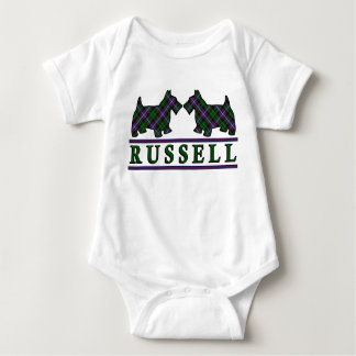 Clan Russell Tartan Scottie Dogs Baby Bodysuit