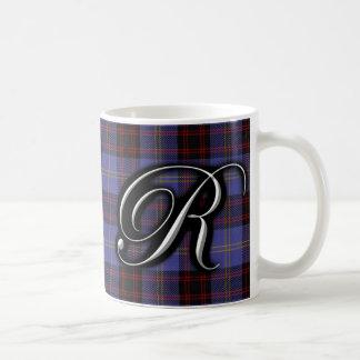 Clan Rutherford Classic Letter R Monogram Tartan Coffee Mug