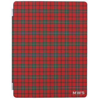 Clan Scott Red and Green Scottish Tartan Monogram iPad Cover