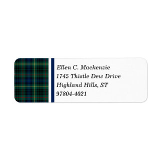 Clan Stewart Green and Blue Hunting Tartan Return Address Label