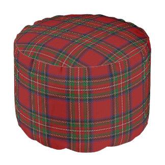 Clan Stewart Scottish Style Red Green Blue Tartan Pouf