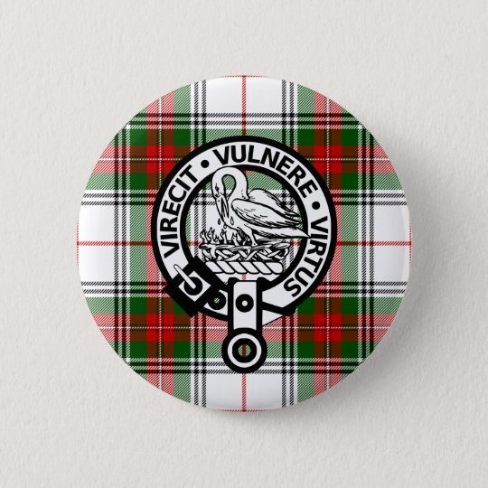 Clan Stewart Tartan Crest Button
