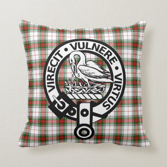 Clan Stewart Tartan Crest Throw Pillow