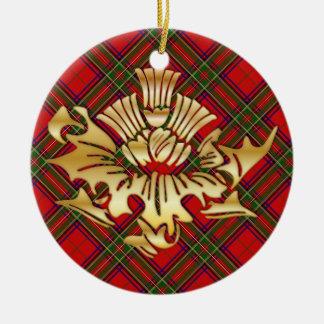 Clan Stewart Tartan & Faux Gold Scottish Thistles Ceramic Ornament