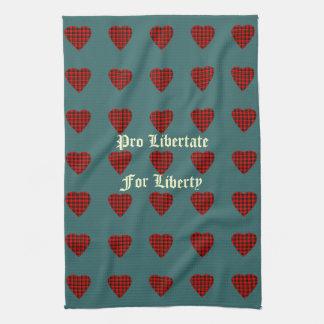 Clan Wallace Freedom Tartan Heart Pattern T-Towel Kitchen Towel