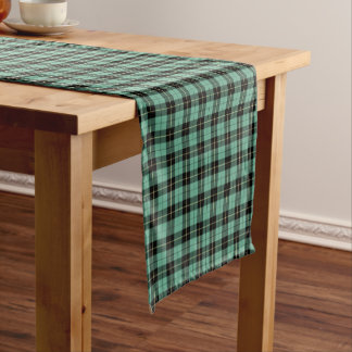 Clan Wallace Light Green Ancient Hunting Tartan Short Table Runner