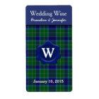 Clan Wallace Plaid Wedding Mini Wine Labels