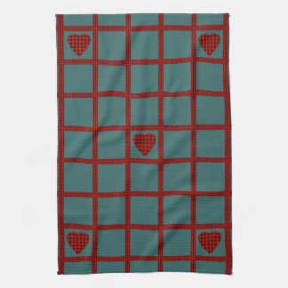 Clan Wallace Tartan Heart Pattern Tea Towel
