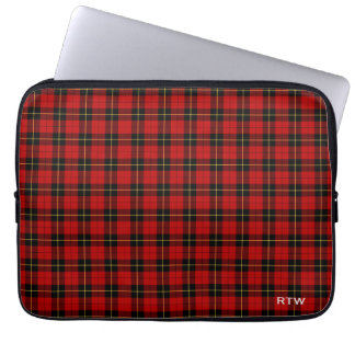 Clan Wallace Tartan Red and Black Plaid Monogram Laptop Sleeve