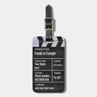 clapperboard cinema luggage tag