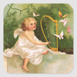 Clapsaddle: Angel Playing Harp Square Sticker