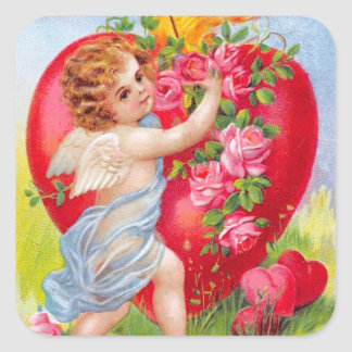 Clapsaddle: Cherub of Love Square Sticker