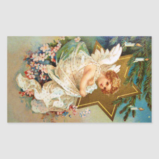 Clapsaddle: Christmas Angel Rectangular Sticker
