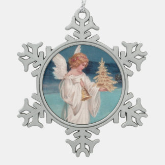 Clapsaddle: Christmas Angel with Bell Snowflake Pewter Christmas Ornament