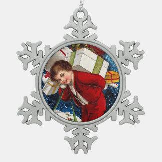 Clapsaddle: Christmas Shopping Boy Pewter Snowflake Decoration