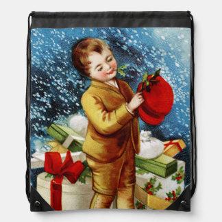 Clapsaddle Christmas Shopping Drawstring Bag