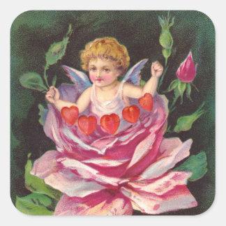 Clapsaddle: Flower Cherub Rose Square Sticker