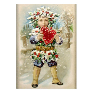 Clapsaddle Holly Boy with Heart Business Card Templates