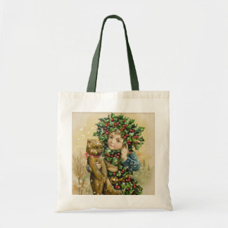 Clapsaddle Holly Boy with Teddy Tote Bags