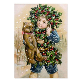 Clapsaddle Holly Boy with Teddy Business Card Templates