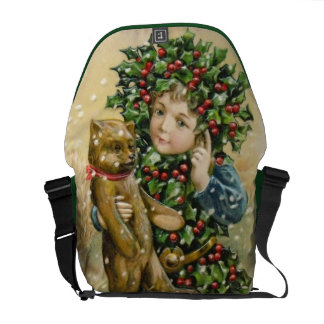 Clapsaddle Holly Boy with Teddy Messenger Bags